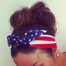 American Flag Dolly Bow Headband EXCLUSIVE