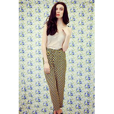 Mustard And Navy Geometric Print Trousers