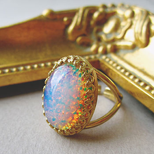 Galactic Glass Fire Opal Ring